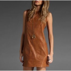 VINCE 100% Leather Sleeveless Dress